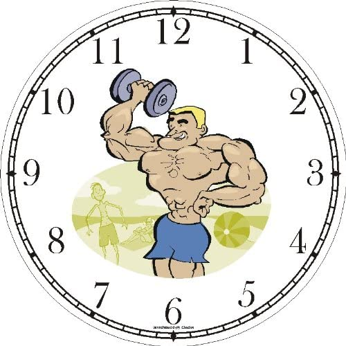 WatchBuddy Caricature of Weight Lifter with Dumbbell on Muscle Beach 1 – Physical Fitness-Exercise-Body Building Wall Clock Timepieces White Frame