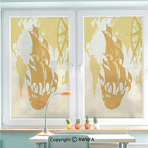 Window Door Sticker Glass Film,Double Exposure Vintage Graphic with Old World Map A Nostalgic Sailboat Compass Concept Anti UV Heat Control Privacy Kitchen Curtains for Glass,22.8 x 35.4 inch,Beige