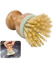Serviesgoed Multifunctionele Tool for Kitchen Reinigingsborstel duurzame houten handvat ronde schaal Scrubber Pot Pan Wash nyfcc