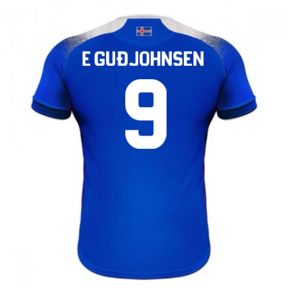 2018-2019 Iceland Home Errea Football Soccer T-Shirt Trikot (Eidur Gudjohnsen 9)