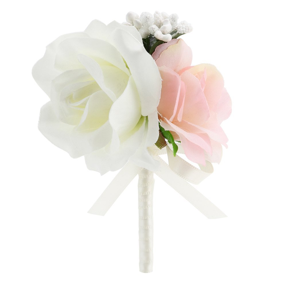 Amazon Faybox Wedding Prom Ivory Pink Silk Flower Wrist Corsage