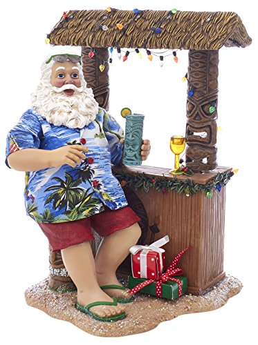 """Kurt S. Adler 11"""" Beach Santa at Tiki Bar Figure from Kurt Adler"""