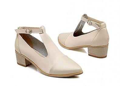 Amazon.com | Aisun Women's Vintage T Strap Chunky Mid Heels Pumps ...