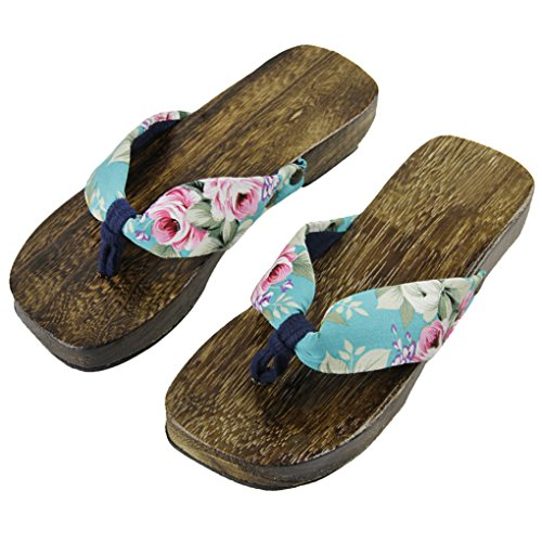 Women's Japanese Style Wood Clog Flip Flops Shoes Anti-skid Floral Mules Slippers Wooden Geta Sandals (US Size 7-8, Floral (Wooden Mule Sandals)