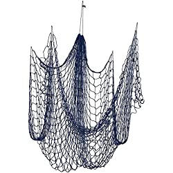 Decorative Nautical Fish Netting - Nautical Decor Cotton Sea Net for Sea, Beach, Fishing Theme Party, Mediterranean Style Fish Net Home Decorations - Blue, 79 x 50 Inches