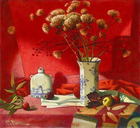 The Perfect Effect Canvas Of Oil Painting 'unknown,Flowers Vases And Fruits In Red Studio,about 20th Century' ,size: 30x33 Inch / 76x83 Cm ,this Beautiful Art Decorative Canvas Prints Is Fit For Garage Decor And Home Artwork And Gifts