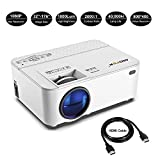 Mofek 1800 Lumens LED Mini Projector with 170 Inch Display, Full HD Home Theater Video Projector Support 1080P, HDMI USB SD Card VGA AV for Home Cinema, Compatible with Amazon Fire TV Stick