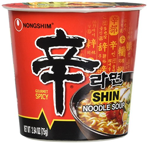 Nongshim Shin Noodle Soup Gourmet Spicy , 6 count - 2.64oz cups