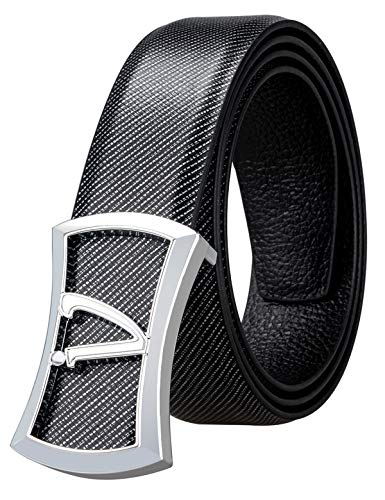 Business Belt with Plaque Buckle Alloy Cowhide Leather Strap Nickel Free,Gift for -