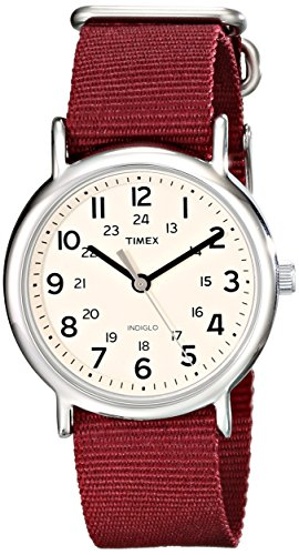 Timex Unisex T2P235 Weekender Maroon Nylon Slip-Thru Strap Watch (Set It Off Band Phone Case)