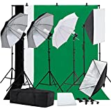 SUNCOO Studio Photography Lighting Kit Including Background Support Stand Kit,Umbrellas Softbox Muslin Continuous Lighting Kit with Case for Portfolio and Video Shooting 4 light bulbs