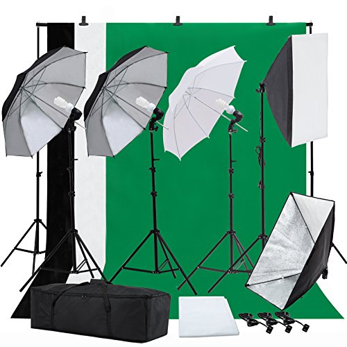 SUNCOO Photo Studio Photography Lighting Kit, Background Support Stand Kit 6.6ft x 10ft, Umbrellas Softbox Muslin Continuous Lighting Kit Case Portfolio Video Shooting, 4 Bulbs ¡­