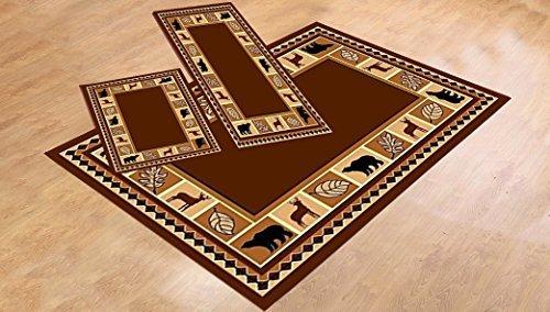 Furnishmyplace 3 Piece Area Rug Set Transitional Modern Floral Oriental Geometric Bear Moose Carpet (Brown Bear Moose Rug Set)