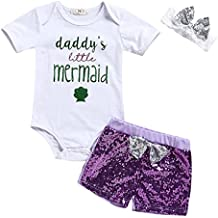 HappyMA Toddler Baby Girl Outfits Daddy's Little Mermaid Romper+ Sequins Shorts+Lace Bowknot Headband Summer 3Pcs Clothes Set