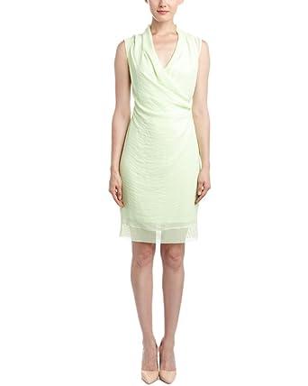 986957e026986 T TAHARI Chandra Green Sleeveless Knee-length Faux Wrap Dress at ...