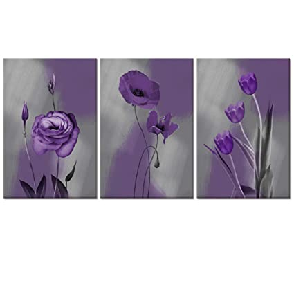Visual Art Decor Purple Wall Art Tulips Poppy Flowers Picture Grey Canvas Prints Framed And Stretched Modern Home Office Wall Decoration 01 Purple