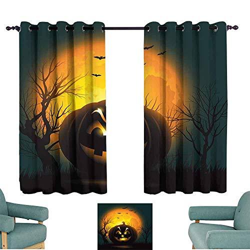 - HCCJLCKS Sliding Curtains Halloween Fierce Character Evil Face Ominous Aggressive Pumpkin Full Moon Bats Set of Two Panels W63 xL63 Orange Dark Brown Black