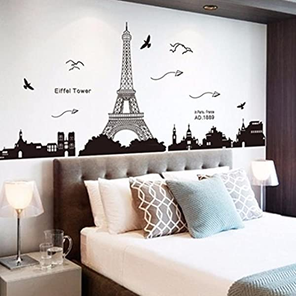 Ussore Eiffel Tower Removable Decor Environmentally Mural Wall