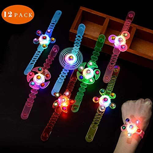 Wowok 12 Pack Flashing Colorful LED Glow Bracelets Toys Glow in The Dark Light Up Bracelets Birthday Party Favors for Kids Prizes Box Hand Stress Relief Anxiety Toys for Boys Girls Neon Party Supplies
