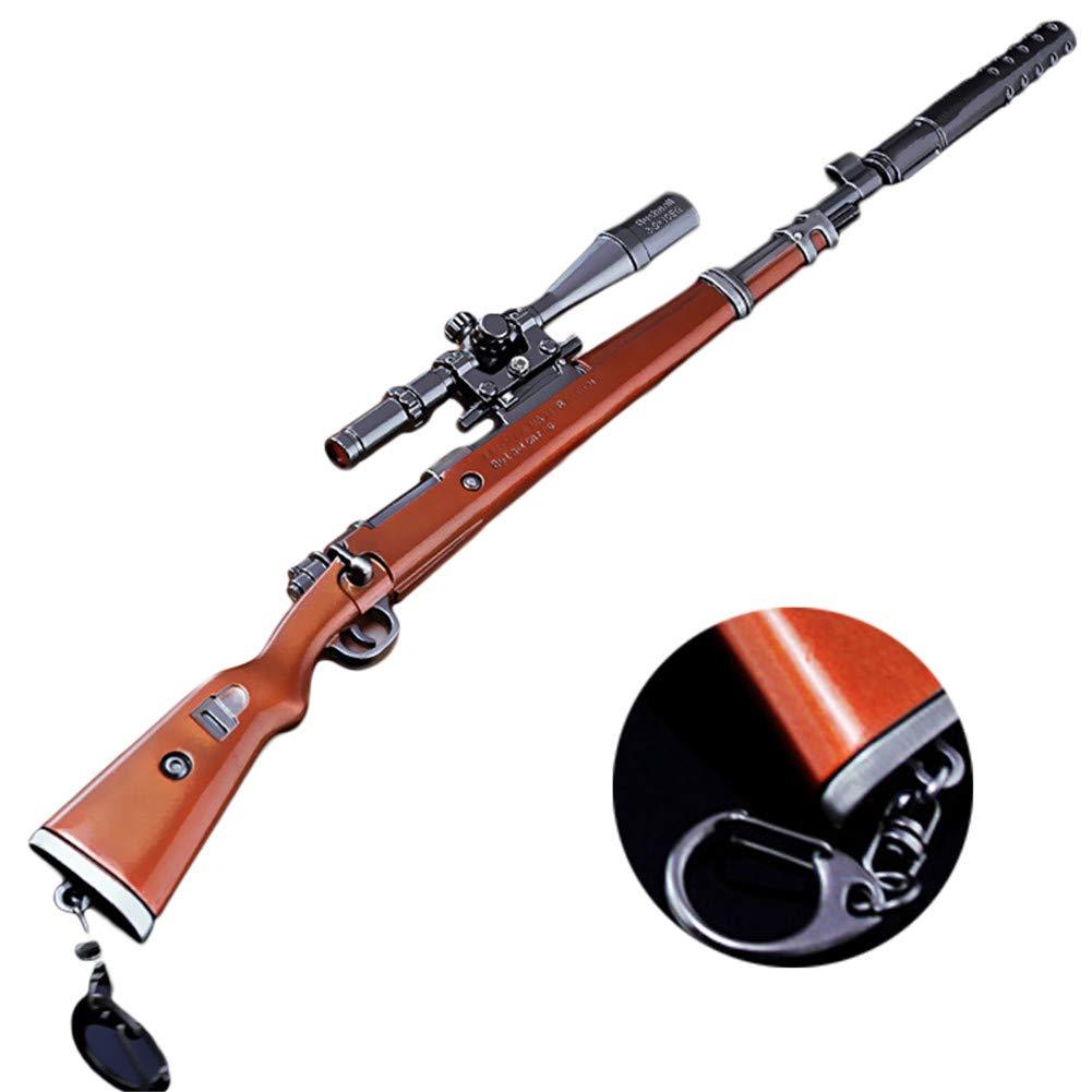Portachiavi–27cm kar98K rifle di tiratore modello di giocattolo di lega–giocattoli di Replica di Armi per bambini adulti, decorazioni, manualidades- Vista + silenziatore + supporto + Caricatore Alicedreamland