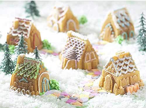 PONECA Silicone Mold Cake Baking Mold Soap 6 Cavity Christmas House &Car Shape CakeDIY for Homemade Cake Soap Jelly Pudding Chocolate Silicone Muffin (House shape)