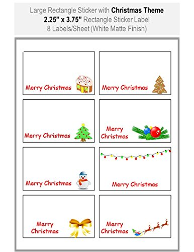 - 8 Sheets Large Rectangle Sticker Labels with Merry Christmas Theme: Size 2.25