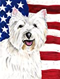 Caroline's Treasures SC9008CHF USA American Flag with Westie Flag Canvas, Large, Multicolor