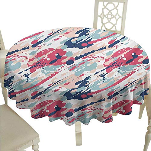 Round Tablecloth Cotton Navy and Blush,Abstract Pastel Color Splashes Artistic Dirty Look Liquid Splat Drops Print,Multicolor D60,for 24 inch Table