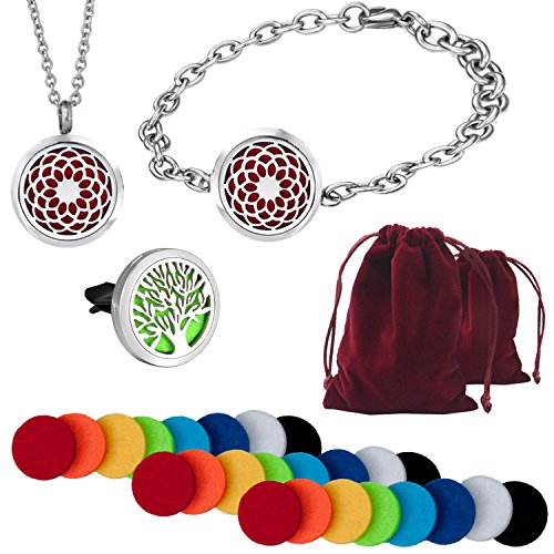 3PCS Aromatherapy Diffuser Jewelry Set   Essential Oil Pendant Nicklace Diffuser, Essential Oil Bracelet Diffuser, Car Diffusers Vent Clip - BONUS 24 Refill Pads & 2 Gift Bags   Hypoallergenic 316L St (Surgical Steel Long Claw)