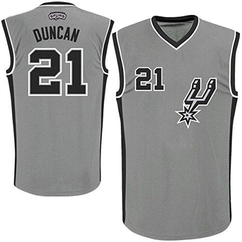 Mens Tim Duncan #21 San Antonio Spurs Silver Jersey M