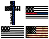 truck accessories book - WZT 4PCS American Subdued Flag Sticker- Blue Line Cross Sticker- Tactical Military Sticker