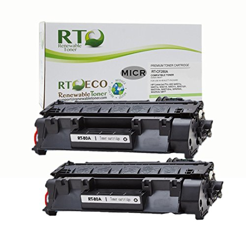 Renewable Toner Compatible MICR Toner Cartridge Replacement for HP 80A CF280A for HP LaserJet Pro 400 M401 M425 (Black, 2-Pack) (Micr Toner For Hp Laserjet Pro 400 M401n)