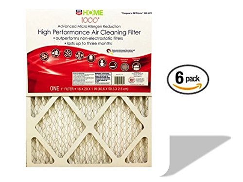 High Performance 16 x 20 x 1 Air Filter - Micro Allergen Defense Pleated High Efficiency Filter for Home and Office - MPR 1000 - 6 Pack