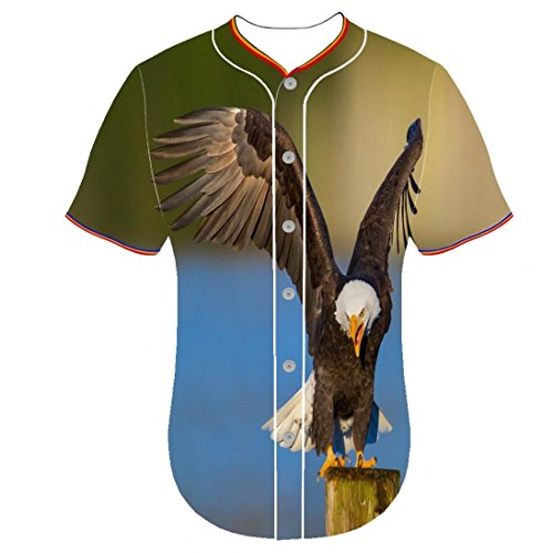 (Round Collar Uqingqujin Mens 3D Printer Personality 3d printed jersey jerseys Bald Eagle ywqc Button Front Shirt Baseball Jerseys)