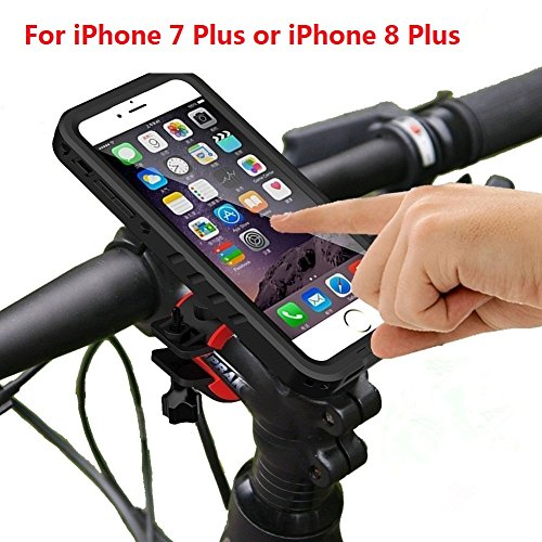 Bicycle Mount iPhone 7 Plus /iPhone 8 Plus Waterproof Case, Bike Motorcycle Rack Handlebar Motorcycle Holder Cradle Rugged Cover Compatible With Apple iPhone 8 Plus - (Waterproof Bike Mount)