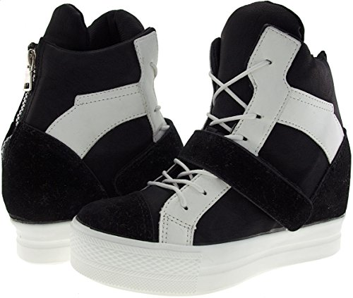 Maxstar C2 Velcro Bands Tall Up High-Top Sneakers Shoes C2-1-Black White ilLzP