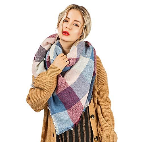 Winter Scarf Blanket Warm Lattice Large Plaid Cashmere Wrap Shawl Scarfs