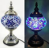 Acmee Mosaic Glass Table Lamp, Turkish Style Mosaic Lantern Table Lamp Shade with Nice Pattern,Antique Bronze Color Base Lantern Lamp for Bed Room or Dining Table Decoration (Blue-White)