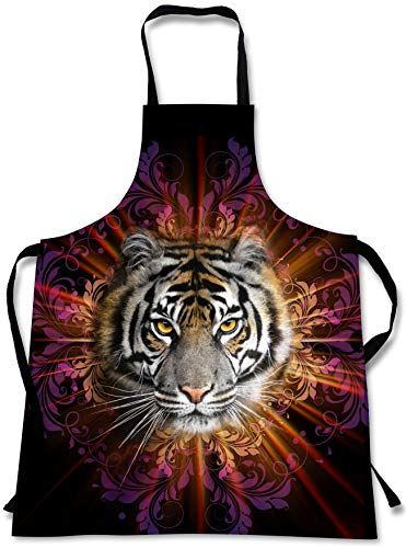 - Tiger Cooking Apron | 3D Print Animals | Tigers Design | Made in USA | Home Kitchen Souvenir Gift | 1 Size Bib Unisex