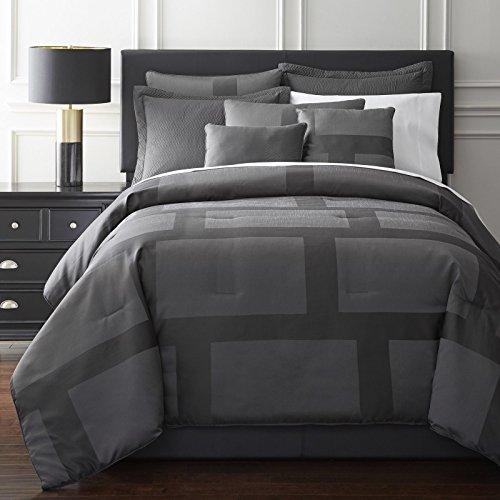 (Zleep Bed Collection 7-Piece Modern Block Jacquard Comforter Set King, Gray)