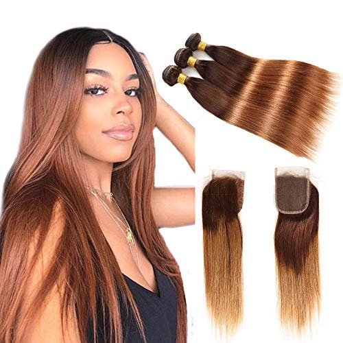 Ombre Brazilian Virgin Hair Straight Hair Bundles with Closure (12 14 16 with 10), 2 Tone Ombre Brazilian Human Hair Weave Bundles and Closure, T4/30 Medium - Weave Hair Ombre Human