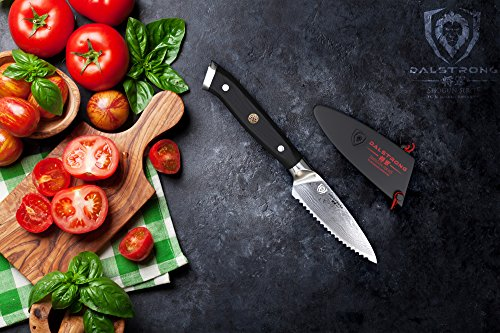 "DALSTRONG Serrated Paring Knife - 3.5"" - Shogun Series - Damascus - AUS-10V Japanese Super Steel - Vacuum Treated - Sheath Included 4 A Dalstrong culinary revolution combining outstanding and award-winning craftsmanship, cutting-edge breakthrough technology, awe-inspiring design, and the absolute best materials available. Ideal for tough-skinned fruit (such as tomatoes, oranges, lemons, limes, kiwis, avocados and more) and vegetables with soft interiors, small crusty loaves, pastries, and dried or tough meats. The blade is also suited for detailed cutting and scoring patterns and designs on surfaces of food. Unrivaled Performance: Ruthlessly sharp scalpel like edge is hand finished to a mirror polish within a staggering 8-12°degree angle using the traditional 3-step Honbazuke method. Nitrogen cooled for enhanced harness, flexibility and corrosion resistance. Full tang for superb robustness and triple riveted for even more resilience. Dalstrong Power: An ultra sharp AUS-10V Japanese super steel cutting core at 62+ Rockwell hardness: extraordinary performance and edge retention. 66 layers of premium high-carbon stainless steel layers ensure exceptional strength, durability and stain resistance. Perfectly balanced, the precisely tapered blade minimizes surface resistance for buttery smooth cut through and enhanced non-stick properties. Remarkably patterned with Dalstrong's stunning 'tsunami-rose' Damascus layers."
