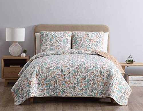 - Morgan Home Printed 3 Piece Reversible Quilt Set with Shams - All Season Comfort, Available in, Colors & Sizes (Light Botanical, Twin)
