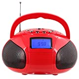 August SE20 Mini Bluetooth MP3 Stereo System Portable Radio with Powerful Bluetooth Speaker- FM Alarm Clock Radio with Card reader, USB and AUX in (Micro USB) - 2 x 3W Stereo Speakers(Red)