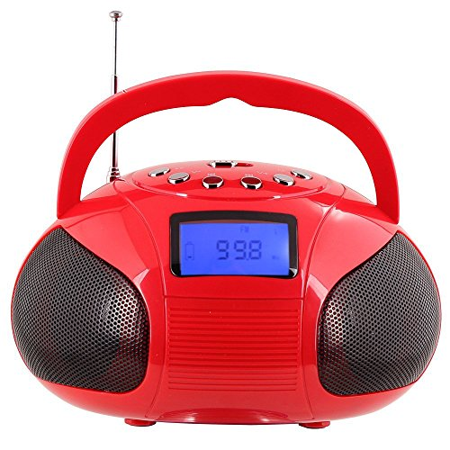 (Radio Speaker, Mini Bluetooth MP3 Stereo System Portable with Powerful Bluetooth Speaker- FM Alarm Clock Radio with Card Reader, USB and AUX in (Micro USB) Red Speakers)