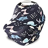 Nursing Cover, Car Seat Canopy, Shopping Cart, High Chair, Stroller and Carseat Covers for Boys or Girls- Best Stretchy Infinity Scarf and Shawl- Multi Use Breastfeeding Cover- Dinosaurs