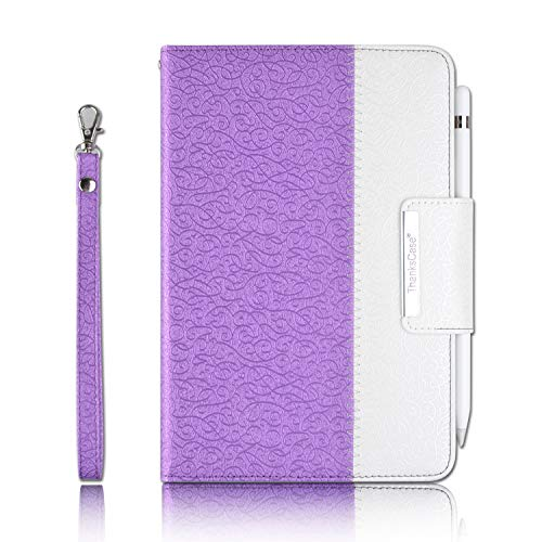 Thankscase Case for iPad Mini 5 2019 / iPad Mini 4 2015, Rotating Stand Case Cover with Apple Pencil Holder, Swivel Case Build-in Hand Strap, Wallet Pocket for iPad Mini 5th Gen (Victorian Purple)