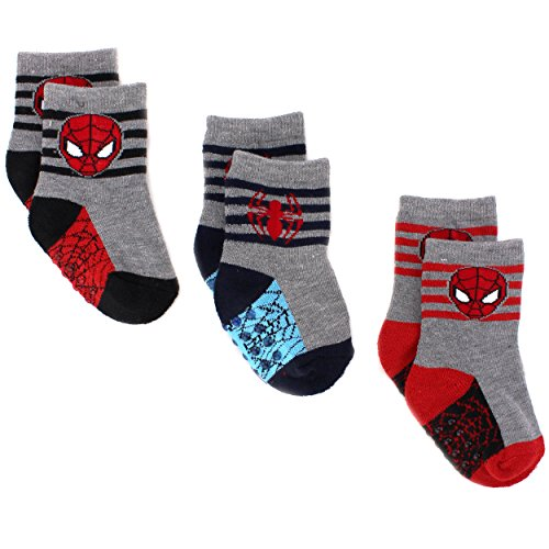 Price comparison product image Superhero Baby Toddler 3 pack Gripper Athletic Socks (12-24M, Spidey Grey)