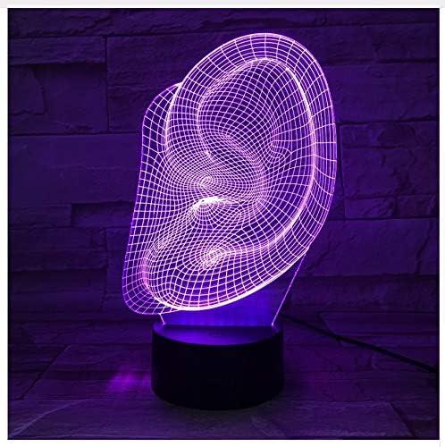 Forma de oreja 3D Lámpara de mesa de escritorio de luz led 3D ...