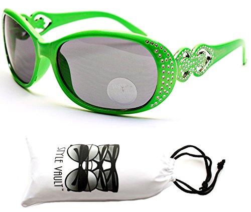 Kd225-VP Kids Children (2~8yr) Oversized Retro Sunglasses (O1187B Lime Green/Rhinestone, - 8 Year Old Sunglasses